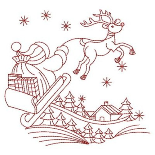 Redwork reindeer embroidery designs machine