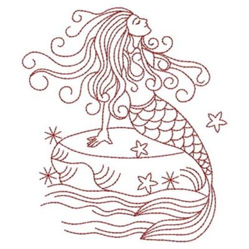 Mermaid Redwork Machine Embroidery Design