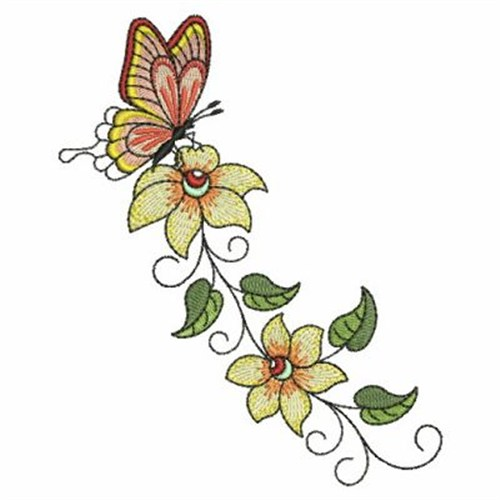 Butterfly Flower Border Embroidery Designs Machine
