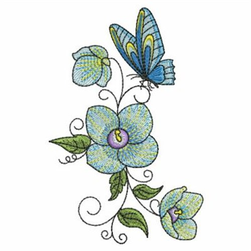 Butterfly Flower Border Embroidery Designs, Machine ...