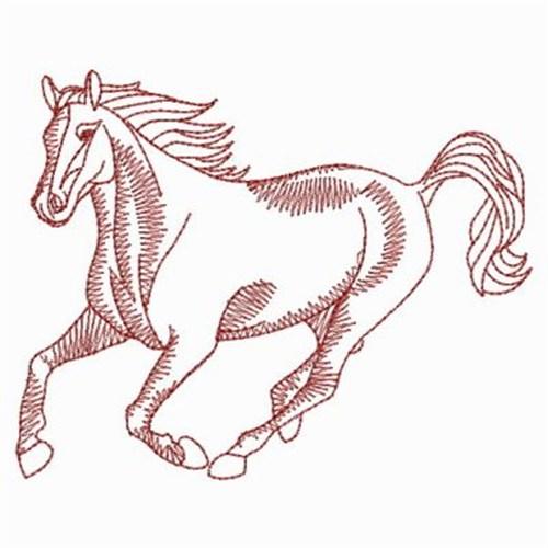 Running horse embroidery designs machine