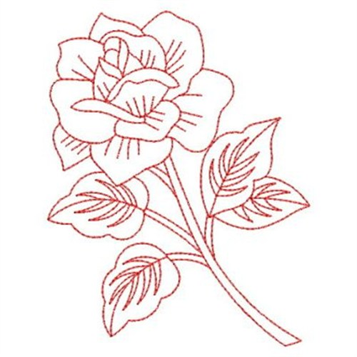 Redwork roses embroidery designs machine