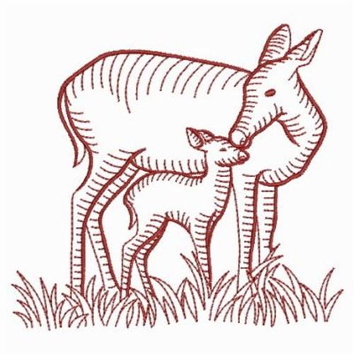 Redwork deer embroidery designs machine