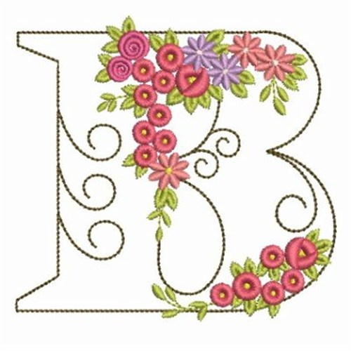 Floral alphabet b embroidery designs machine