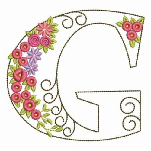 Floral alphabet g embroidery designs machine