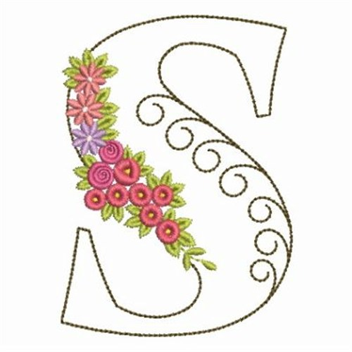 Floral alphabet s embroidery designs machine