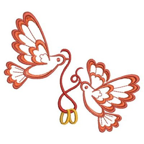 Wedding ring doves embroidery designs machine