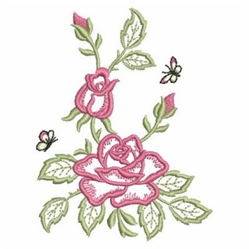 Open roses outline embroidery designs machine