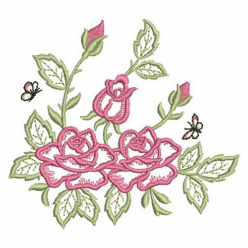 Bouquet outline roses embroidery designs machine