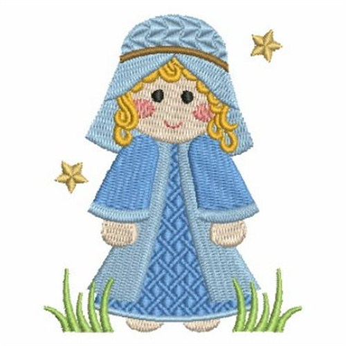 Mary Christmas Manger Embroidery Design