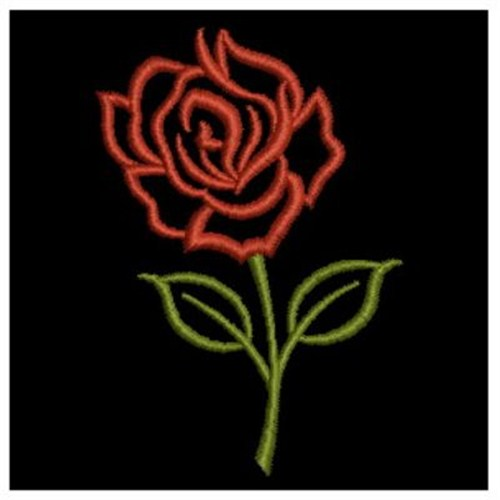 Single rose outline embroidery designs machine
