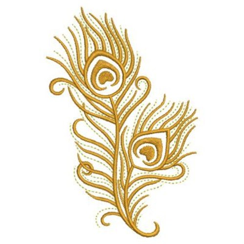Gold peacock feathers embroidery designs machine