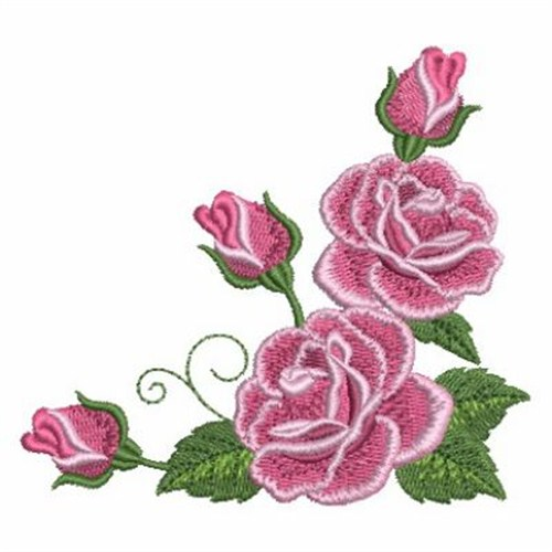Romantic roses corner embroidery designs machine