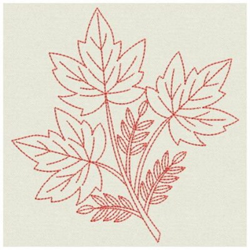 Redwork maple leaves embroidery designs machine
