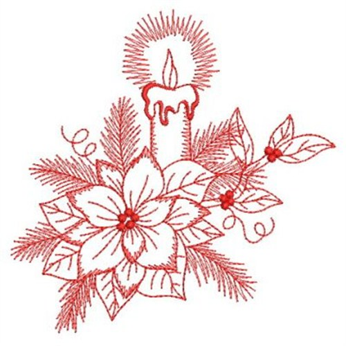 Redwork candle poinsettia embroidery designs machine
