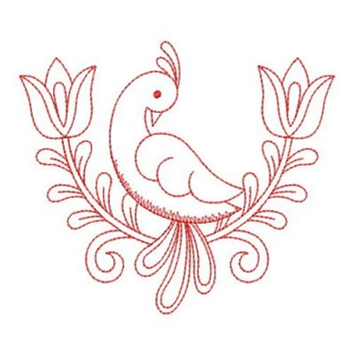 Redwork Bird Flower Embroidery Designs Machine Embroidery Designs