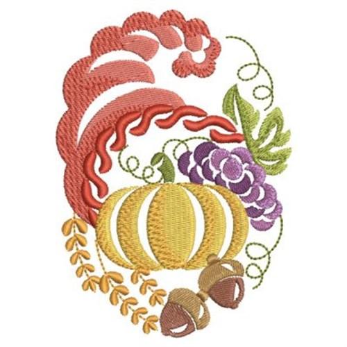 Thanksgiving cornucopia embroidery designs machine