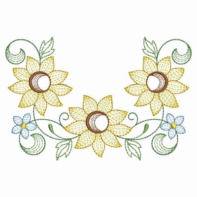 Rippled Sunflowers Frame Embroidery Designs Machine Embroidery