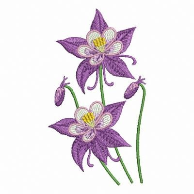 Columbine Flowers Embroidery Designs Machine Embroidery Designs