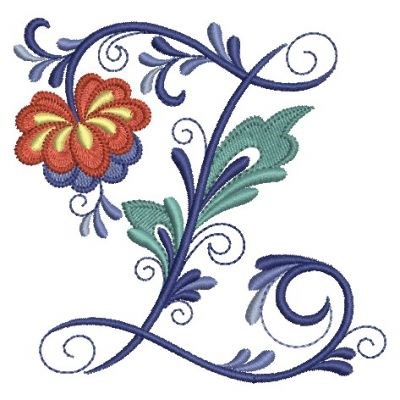 Delft Floral Alphabet Z Embroidery Design