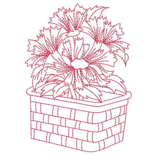 Free Flower Basket Embroidery Designs : Redwork flower basket embroidery designs machine