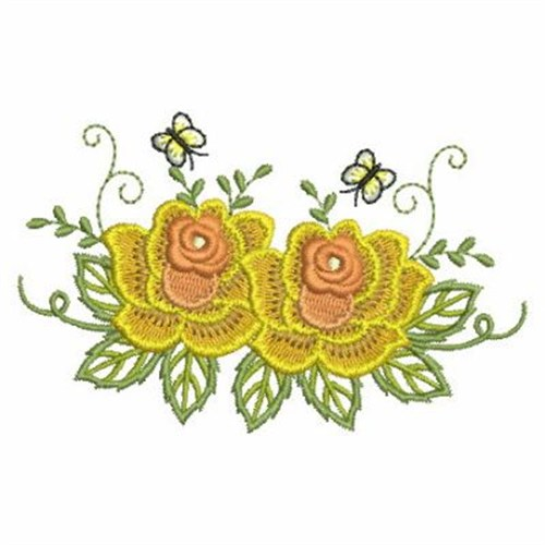 Two yellow roses embroidery designs machine