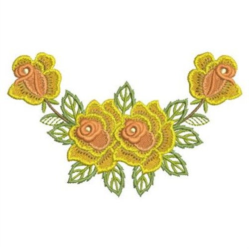 Four yellow roses embroidery designs machine