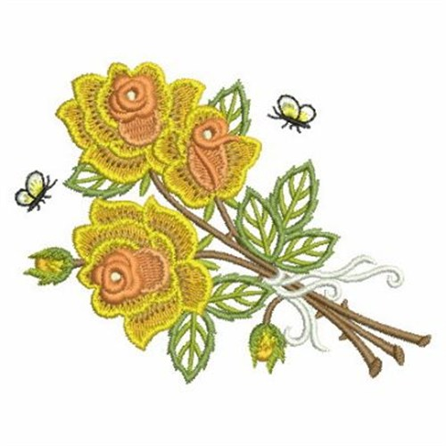 Rose bouquet embroidery designs machine