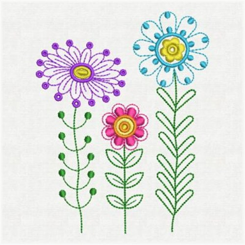 Fancy flowers embroidery designs machine
