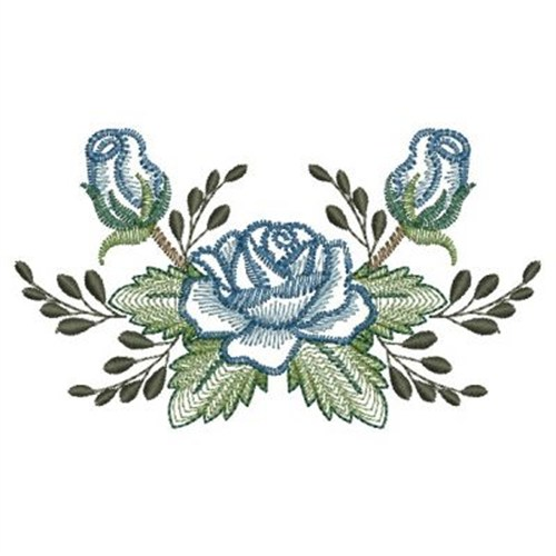 Blue rose border embroidery designs machine
