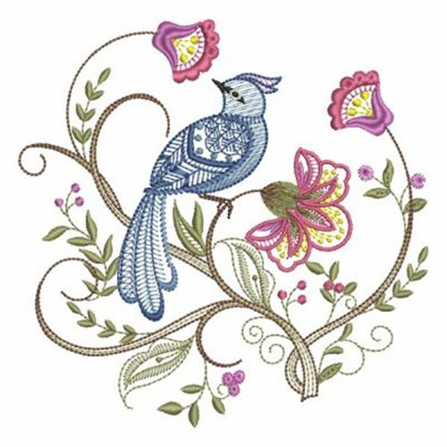 Fancy Jacobean Bird Embroidery Designs Machine Embroidery Designs
