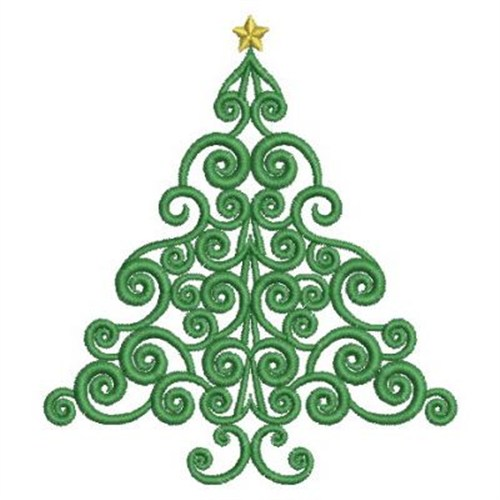 Swirly Christmas Tree Embroidery Designs Machine Embroidery Designs