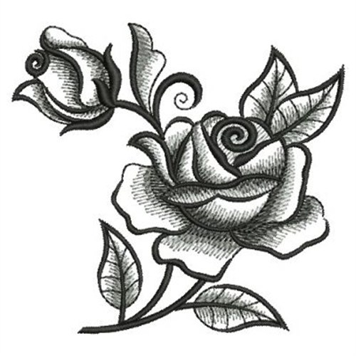 Blackwork Roses Embroidery Design