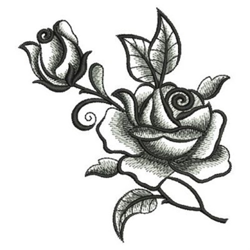 elegant black roses embroidery designs  machine embroidery