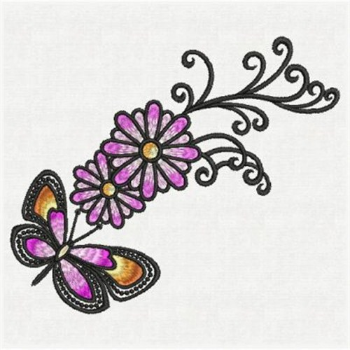 Artistic dancing butterflies embroidery designs machine