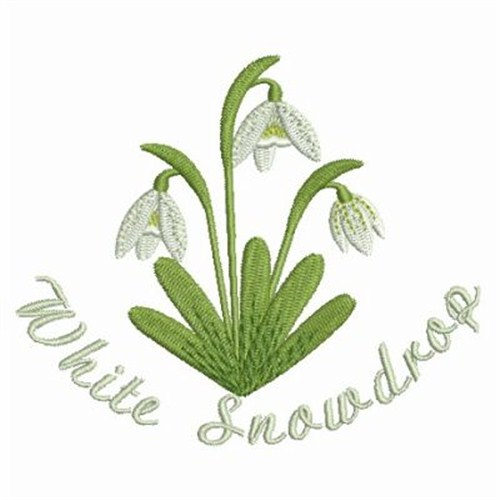 Snowdrops in a tea cup embroidery pattern