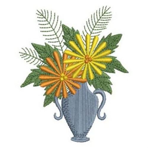 Flowers vase embroidery designs machine