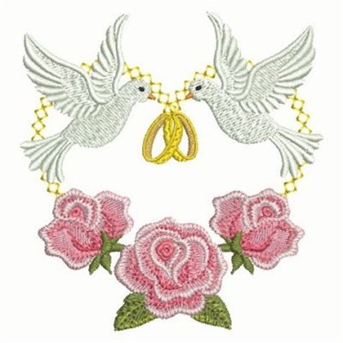 Rings doves embroidery designs machine