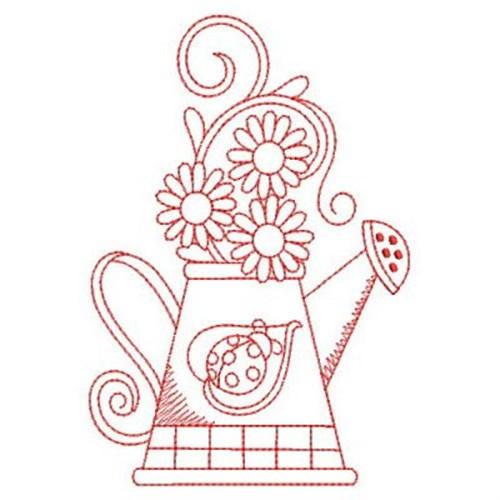 Redwork ladybug watering can embroidery designs machine embroidery designs at - Ladybug watering can ...