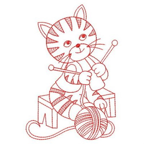 Redwork knitting kitten embroidery designs machine