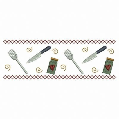 Kitchen Utensil Border Embroidery Designs Machine Embroidery