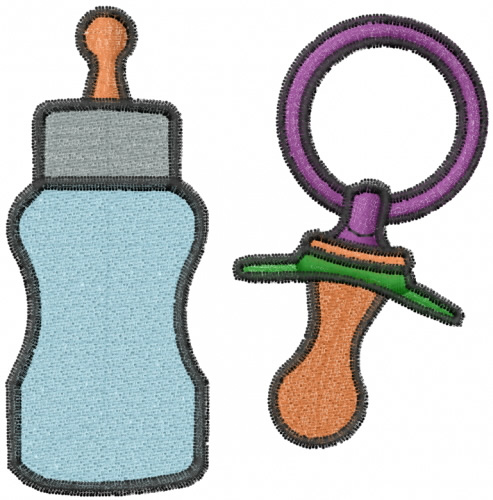 Baby Bottle And Pacifier Embroidery Designs Free Machine Embroidery