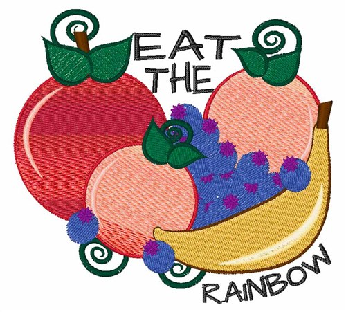 Eat the rainbow embroidery designs machine