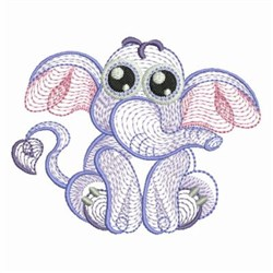 Rippled Baby Elephant Embroidery Designs Machine