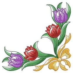 Watercolor Tulips Border Embroidery Designs, Machine ...
