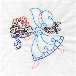 Girl With Basket Embroidery Designs Machine Embroidery