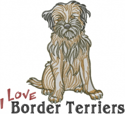 Love Border Terriers Embroidery Designs Machine