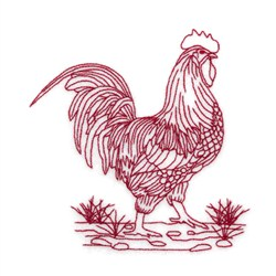Redwork Rooster In Stones Embroidery Designs Machine
