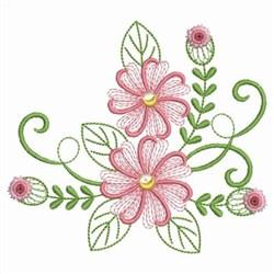 Sweet Heirloom Embroidery Design Swirly Pink Flowers 333