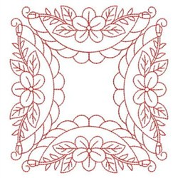 Quilting Border Embroidery Designs : Redwork Flower Quilt Border Embroidery Designs, Machine Embroidery Designs at EmbroideryDesigns.com